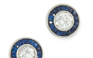 A PAIR OF DIAMOND AND SAPPHIRE TARGET EARRINGS each set