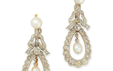 A PAIR OF PEARL AND DIAMOND DROP EARRINGS in yellow