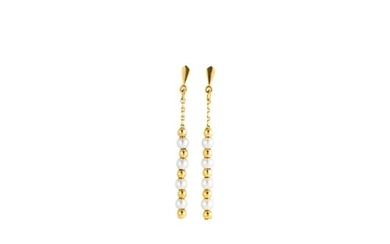 A PAIR OF SEED PEARL DROP EARRINGS, with gold beaded decorat...
