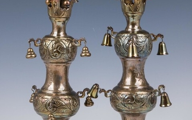 A PAIR OF STERLING SILVER TORAH FINIALS. American, c....