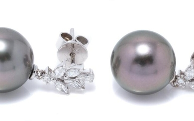 A PAIR OF TAHITIAN PEARL AND DIAMOND EARRINGS; each an 11.8mm round cultured pearl of fine colour with high lustre on an 18ct white...