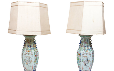A Pair of Chinese Famille Rose Porcelain Vases Mounted as Lamps