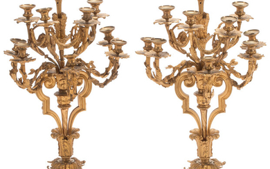 A Pair of Large Louis XVI-Style Gilt Bronze Ten-Light Candelabras (19th century)