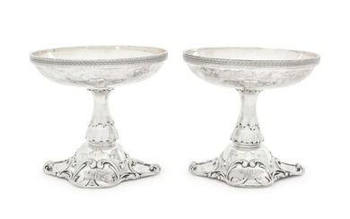 A Pair of Russian Silver and Parcel Gilt Compotes