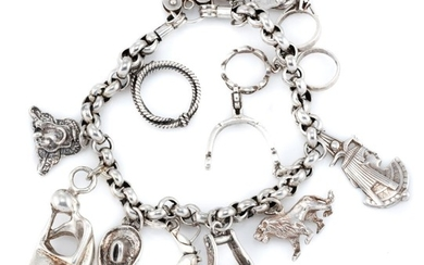 A SILVER CHARM BRACELET; belcher links attached with 12 assorted charms with heart shape padlock clasp, length 19cm, wt. 51.95g.