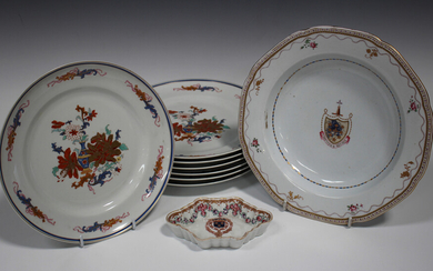 A Samson type porcelain Chinese famille rose style spoon tray, late 19th/early 20th century, of typi
