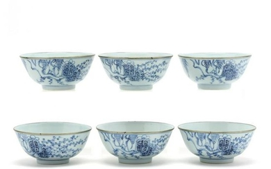 A Set of Six Chinese Porcelain Blue and White Bowls