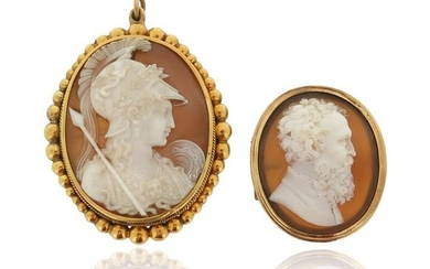 A Victorian shell cameo brooch depicting Michelangelo, in...