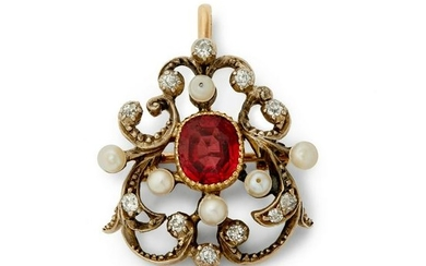A Victorian spinel, pearl and diamond brooch.