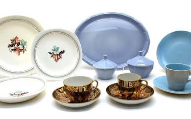 A collection of six setting Poole pottery tableware