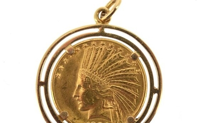 A gold coin of 10 US dollars Indian Head 1932, mounted as a pendant on 18 K yellow gold (750 °/°°).