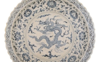 A large Chinese blue and white charger with...