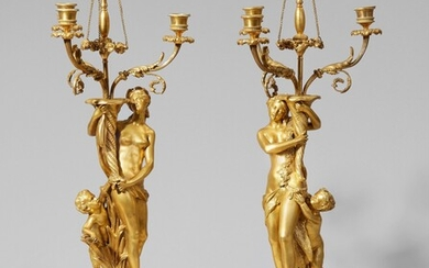 A pair of Neoclassical ormolu girandoles with nymphs and maenads