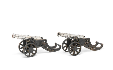 A pair of silver-plated cannons
