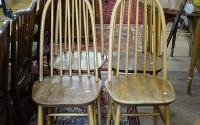 A set of 4 mid-century elm-seated stick-back dining chairs