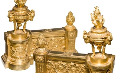 A splendid pair of French Louis XVI andirons, Paris, circa 1790