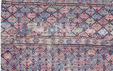 A wool rug fragment with geometrical pattern