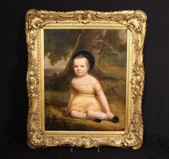 AMERICAN SCHOOL PORTRAIT CHILD (1840's)