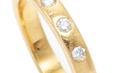 AN 18CT GOLD HALF HOOP DIAMOND RING; gypsy set with 5 round brilliant cut diamonds totalling approx. 0.24ct, size O1/2, wt. 6.56g.