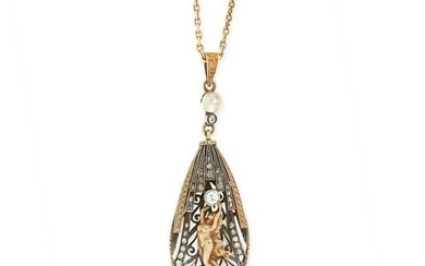 AN ART NOUVEAU DIAMOND PENDANT AND CHAIN, EARLY 20TH