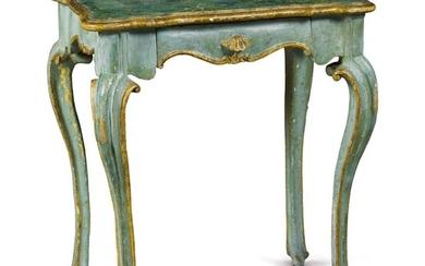 AN ITALIAN BAROQUE STYLE GREEN PAINTED AND PARCEL GILT SMALL OCCASIONAL TABLE