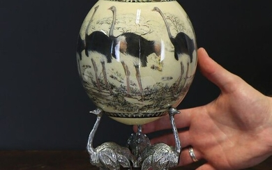 African Ostrich Egg hand-decorated with custom pedestal - Struthio camelus - 255×115×100 mm