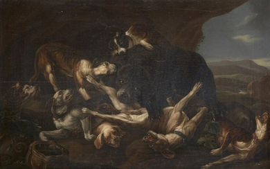 After Johannes Fijt, Flemish 1611-1661- Dogs and a Bear fighting;...