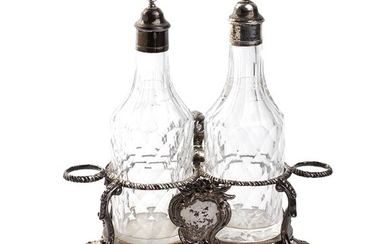 An English Georgian sterling silver cruet set - London 1766,...