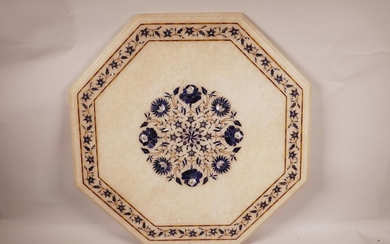 """An octagonal Indian inlaid pietra dura marble table top, 21""""..."""