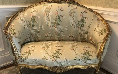 Antique French Louis XIV Carved Upholstered Settee