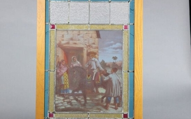 Antique Spanish Hand Painted Leaded Stained Glass Panel
