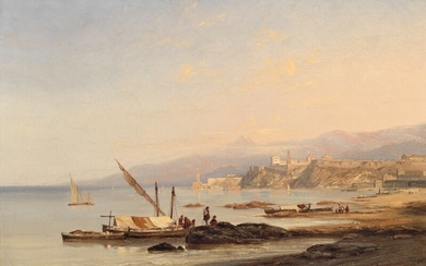 Antoine Guindrand: View of the coast and harbour of Naples. Signed and dated Guindrand 1838. Oil on canvas. 40×61 cm.