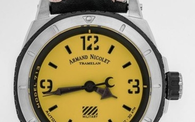 """Armand Nicolet - Automatic S05-3 Diver Military Yellow Dial with Black Hand Made Leather Strap Swiss Made - """"NO RESERVE PRICE"""" A713PGN-VN-PK4140NR - Men - Brand New"""