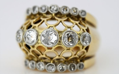 Art Deco - 18 kt. Yellow gold - Ring - 1.60 ct Diamond - Diamonds