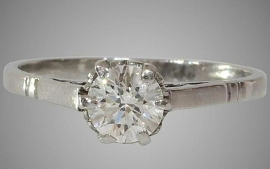 Art Deco Diamond Engagement Ring | 14K White Gold |