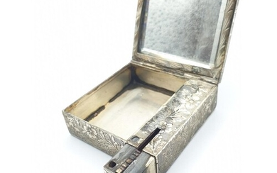 Art Noveau French silver make up box with sprung lipstick ho...
