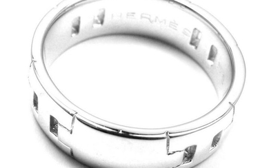 Authentic! Hermes 18k White Gold H Band Ring Size 58 US