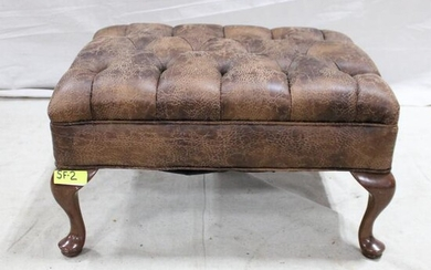 Button Tufted Ottoman with Queen Anne Legs