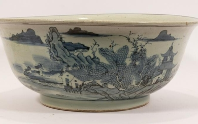 "CHINESE BLUE AND WHITE PORCELAIN BOWL, H 8"", DIA 19.5"""