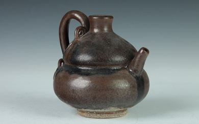 CHINESE BROWN GLAZED STONEWARE DOUBLE GOURD EWER. - 5 in....