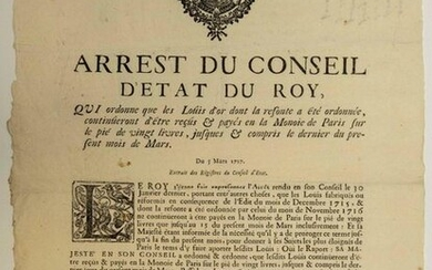 """CURRENCY. 1717. BURGUNDY & BRESSE; REMELTING OF THE GOLDEN LOUIS. """"Order of the Royal Council that the Louis d'Or, which has been redesigned, will continue to be received and paid in Paris mint on the basis of 20 pounds, up to and including the last..."""