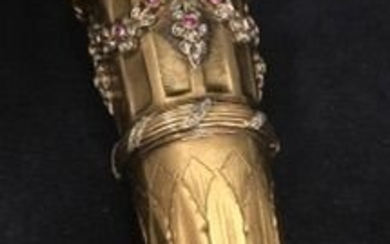 Cane or umbrella handle with diamonds and rubies. - .916 (22 kt) gold - Portugal - Late 19th century
