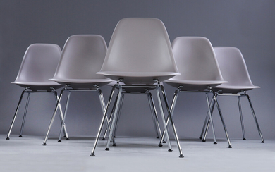Charles Eames. A set of six shell chairs, model DSX, in the colour 'Mauve grey' (6)