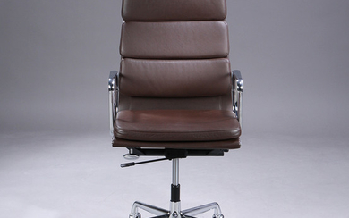 Charles Eames. Soft Pad high-backed office chair, Model EA-219, full leather, brown