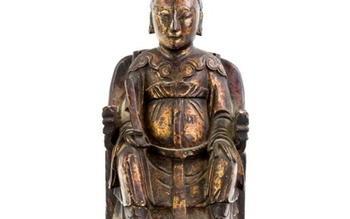 """Chinese Carved Lacquer 12"""" Ancestral Sculpture"""