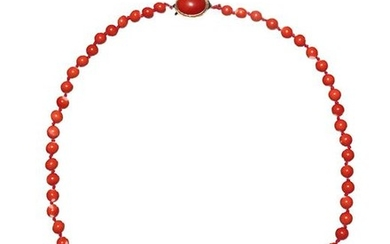 Chinese Coral Bead Necklace, Early 20th Century