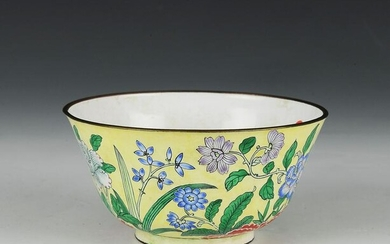 Chinese Enameled Bowl with Flowers, 18-19th Century