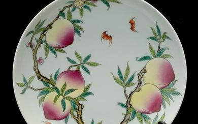 Chinese Famille Rose Enameled Nine Peach Plate.