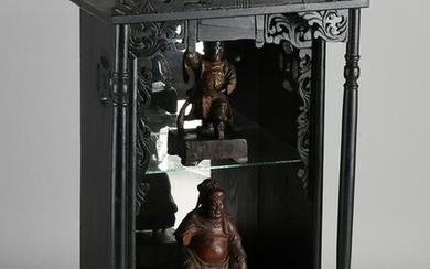Chinese wood carved home altar with two antique carved
