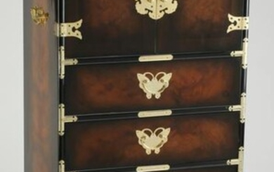 "Chinoiserie style tall chest w/ butterfly pulls, 52""h"